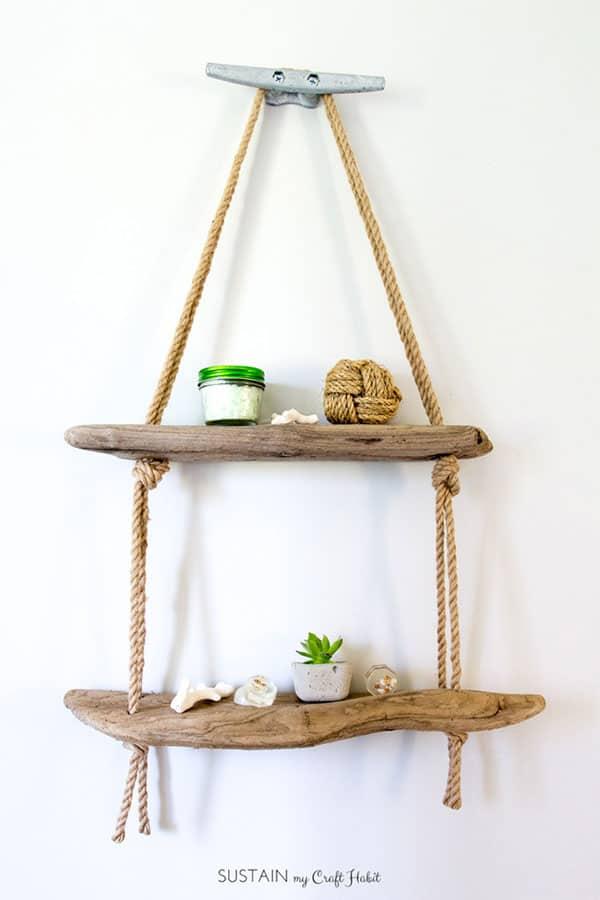 DIY hanging rope bathroom shelf with driftwood- great DIY bathroom shelf- by Sustaining My Craft Habit