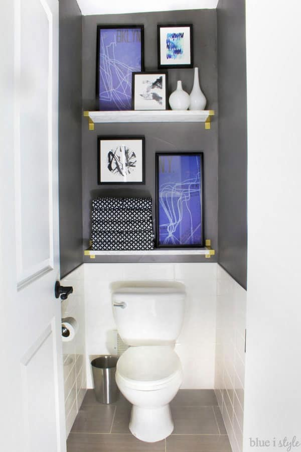 DIY marble bathroom shelves by Blue I Style Blog