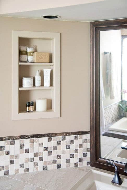 recessed DIY bathroom shelves by the handyman's daughter