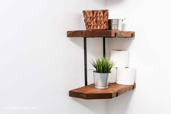 How to make DIY farmhouse shelves by Two Feet First