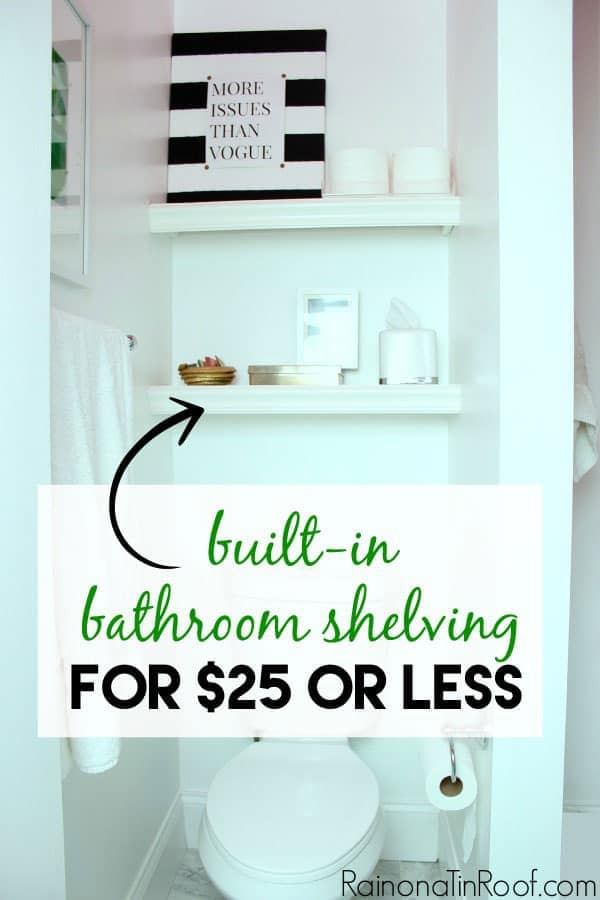 built in bathroom shelving by Rain on a Tin Roof