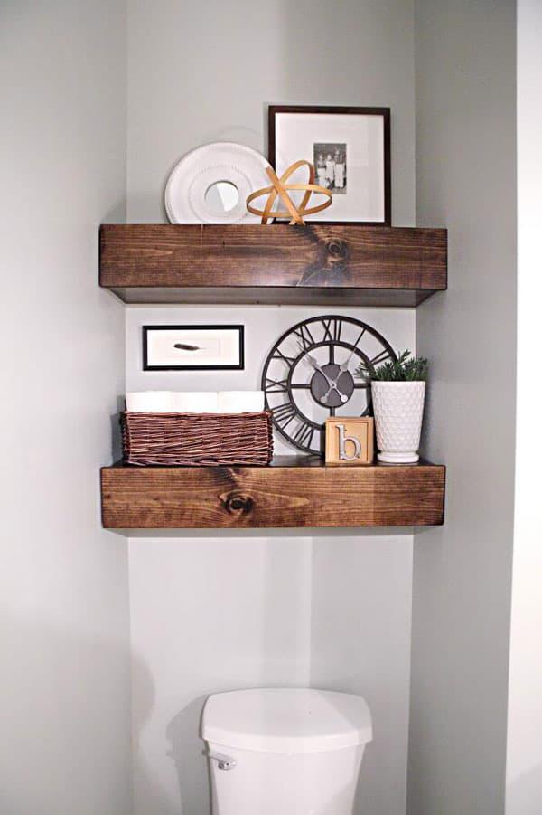 chunky wood DIY bathroom shelves over toilet by Bower Power Blog