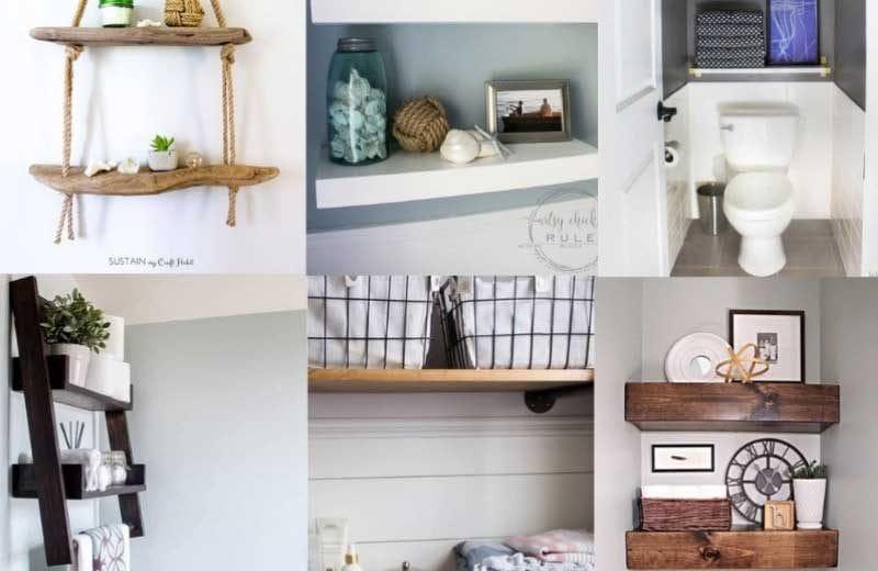 diy bathroom shelf ideas collage