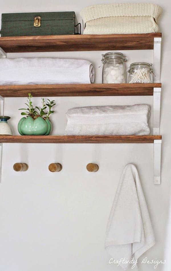diy wood bathroom shelves with brackets by craftivity designs
