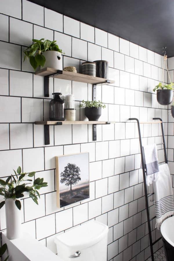 DIY bathroom shelves on tile wall by Love Create Celebrate