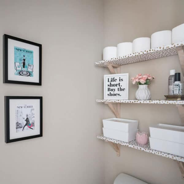 diy mdf bathroom shelves covered in contact paper with brackets by Polished Habitat