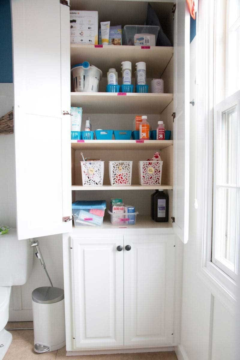 kids bathroom organization cabinet