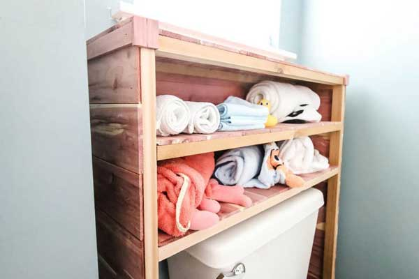 diy shelves over toilet- charleston crafted