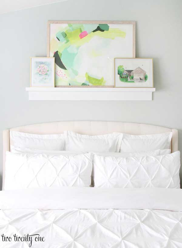 Sea Salt Master Bedroom with abstract artwork- Two Twenty One