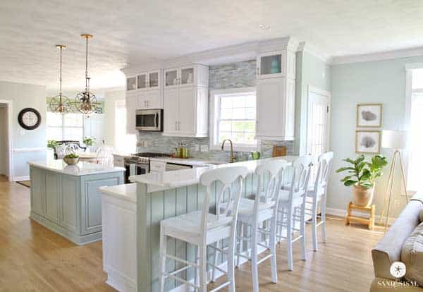 Sherwin Williams Sea Salt kitchen and cabinets and living room- Sand and Sisal