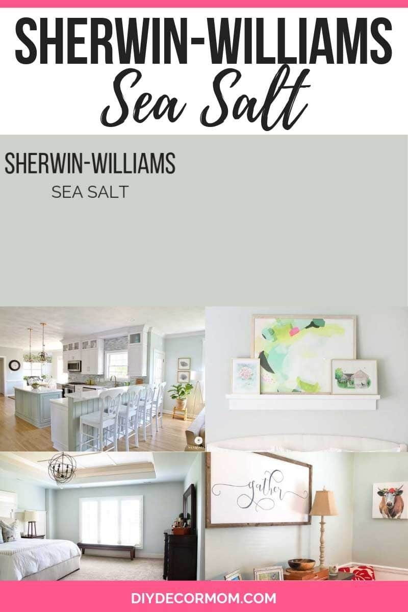 Sherwin Williams Sea Salt paint color swatch and kitchen bedroom and bathroom