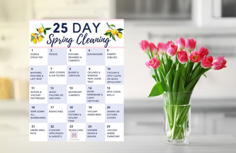 spring cleaning checklist- 25 day printable calendar
