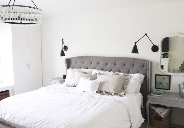 warm white bedroom color- SW Alabaster by White Cottage Home