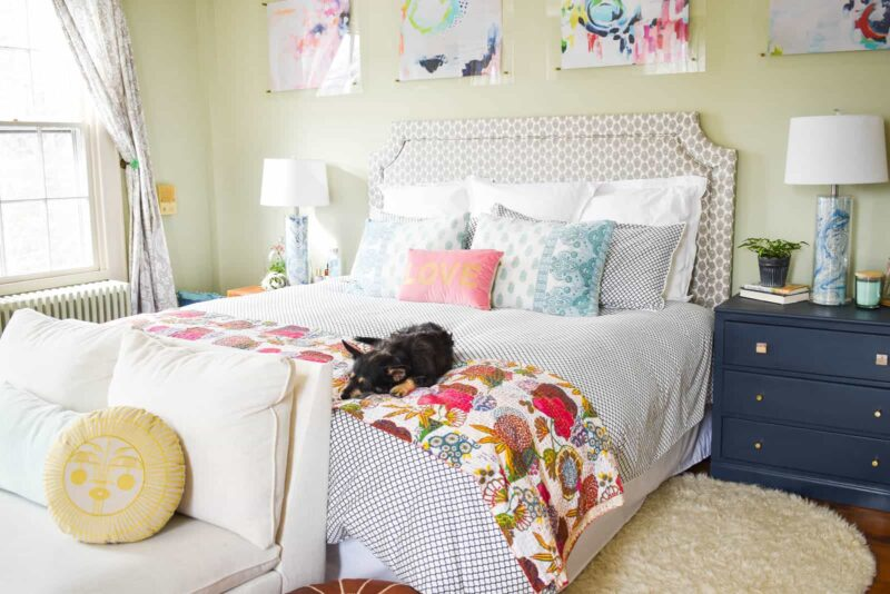 At Charlottes House master bedroom artwork above bed--a simple decor idea for bedrooms