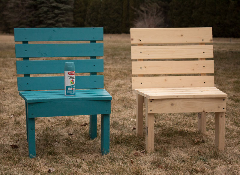 two spray painted diy fire pit chairs that make a bench
