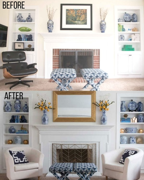two fireplace vignettes with built ins styled two different ways showing common interior design mistakes and proper furniture arrangement tips