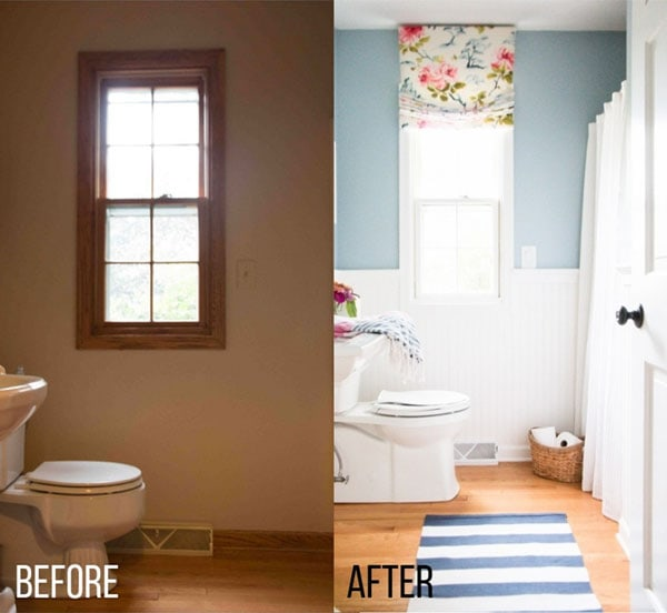 how to decorate your home--avoid these design mistakes like missing curtains in the bathroom