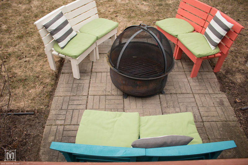 three diy fire pit benches with curved slats made out of lumber
