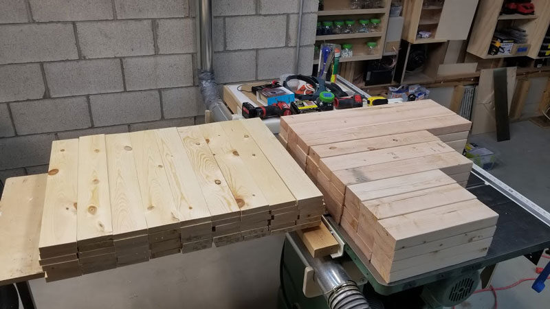 cut lumber for diy fire pit benches