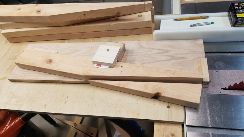cut wood pieces for making your own fire pit bench