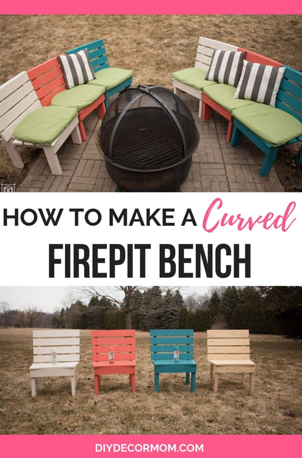 diy fire pit bench curved with cushions and colorful pillows