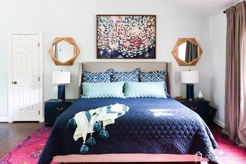 master bedroom with area rug by Kaleidoscope Living