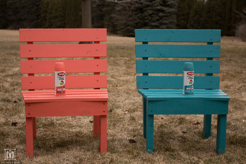 coral spray painted diy fire pit chair and teal spray painted diy fire pit chair