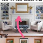 before and after decorated bookshelves by fireplace builtins