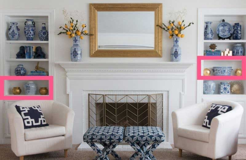 decorating tips for styling bookcases around fireplace