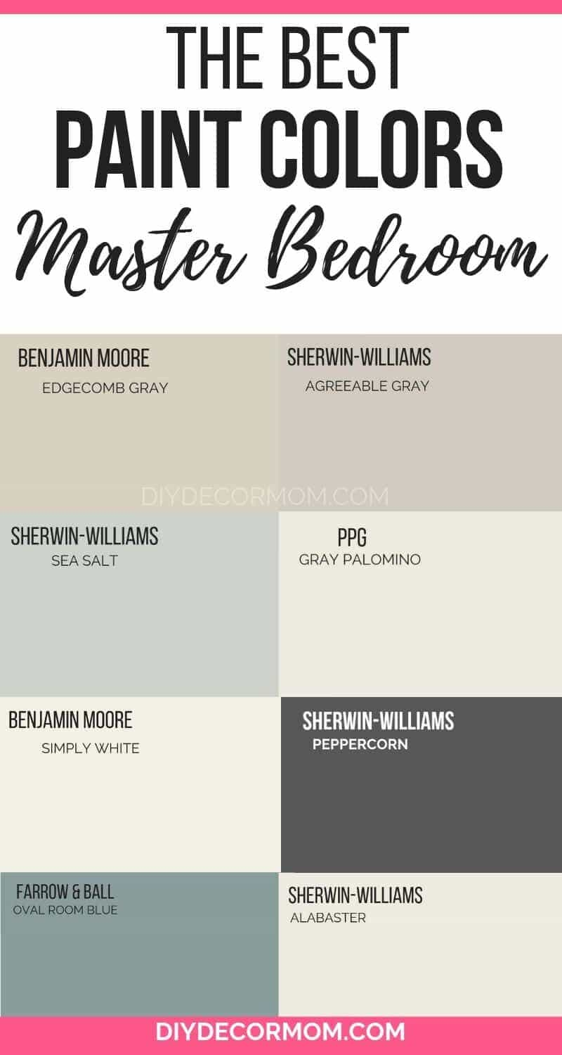 paint chips of the best master bedroom colors--10+ master bedroom colors that always work!