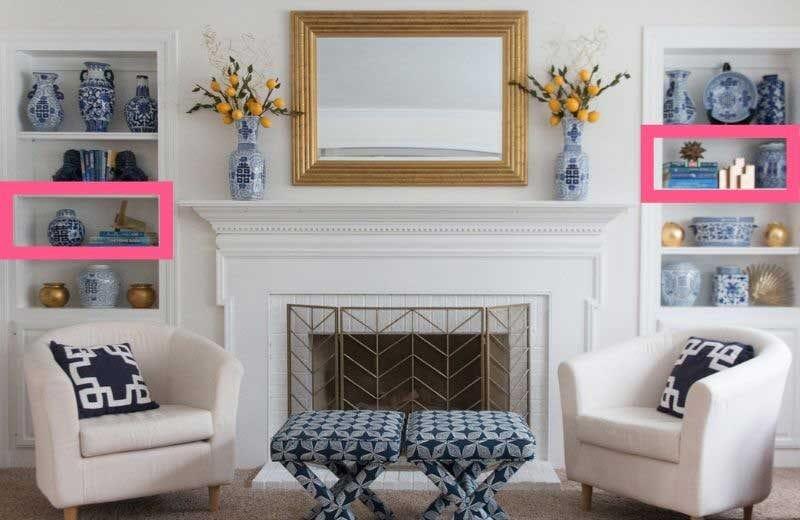 built in bookshelf styling steps--create symmetrical arrangements of decorative objects