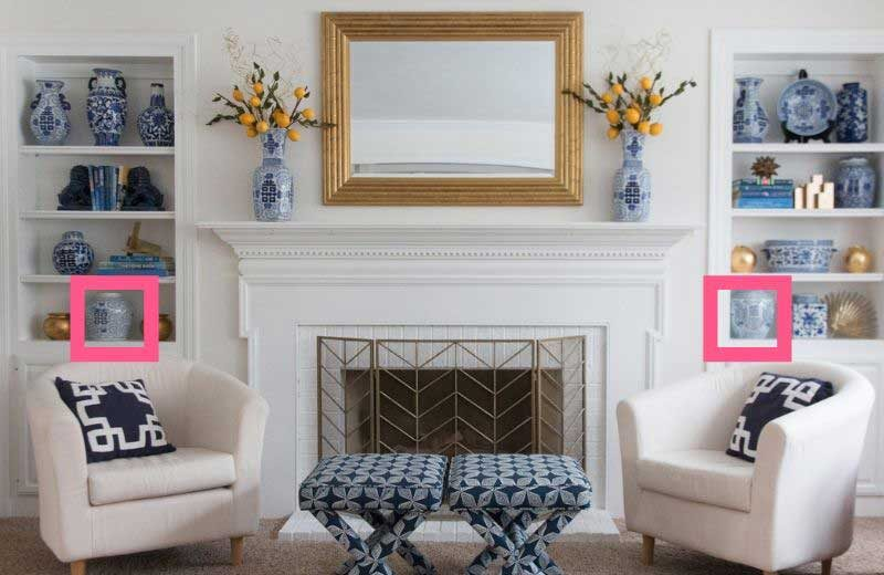 decorating bookcases 101: balance large decorative objects