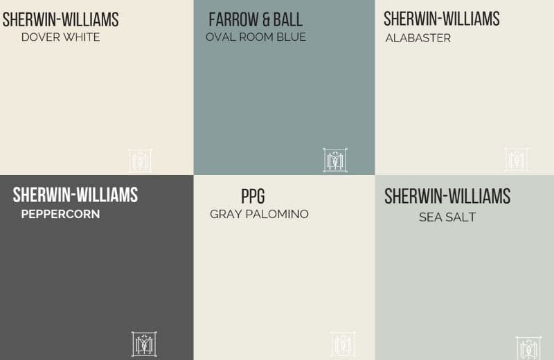 collage of master bedroom paint colors