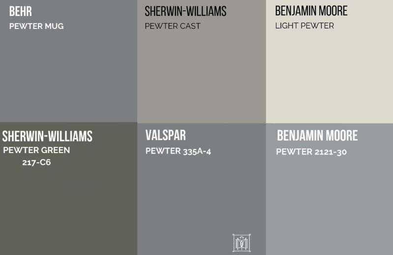 pewter color paint chips compared