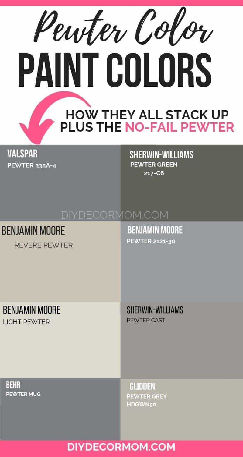 pewter color paint chips compared from sherwin-williams, benjamin moore, valspar, glidden, and behr