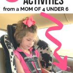 road trip with kids activities--girl drawing in car