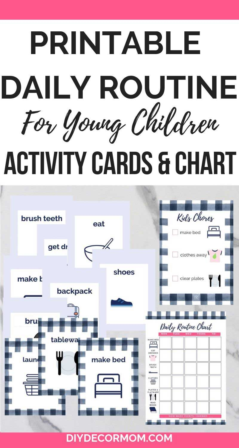 printable daily routine for kids with cards and sample schedule