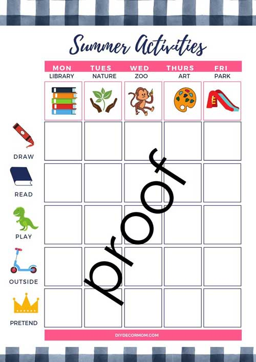 summer activities and schedule printable chart for young children