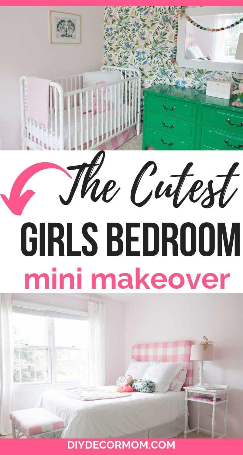 girls bedroom pink and green paint