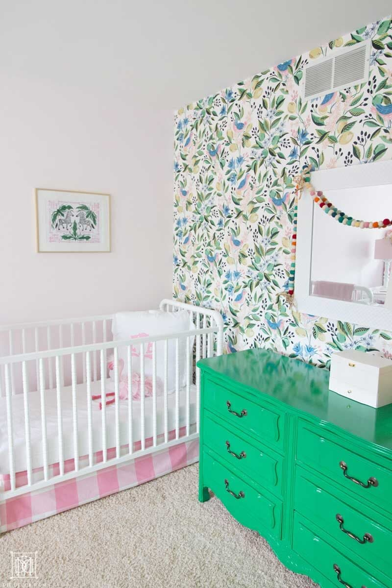crib with wallpaper-- what are the things new moms need for the newborn period