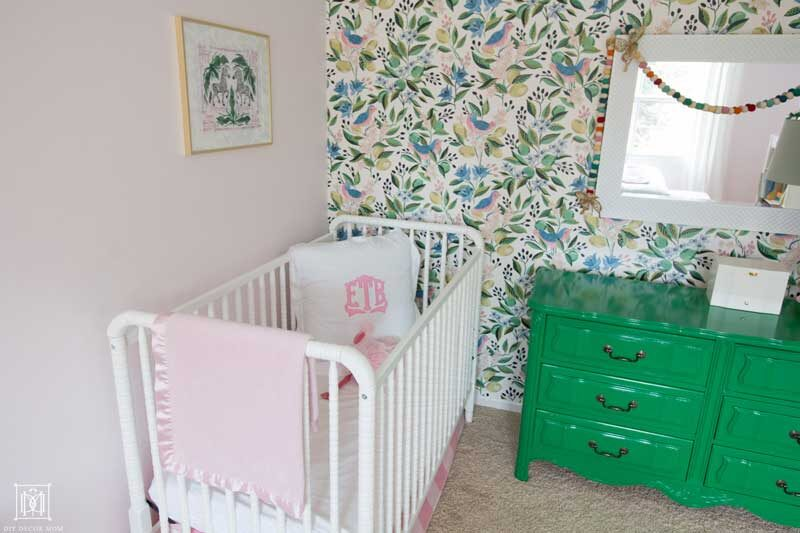 light pink and green little girls bedroom with monogram bedding