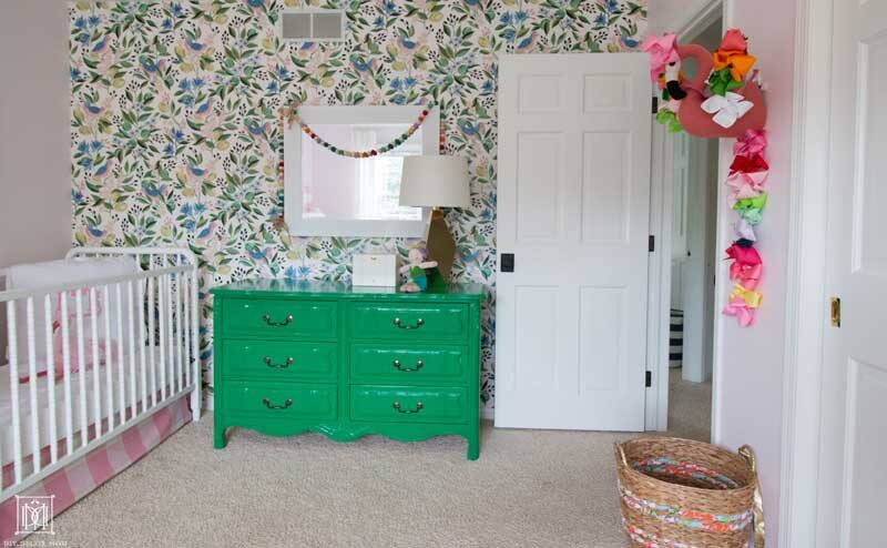 wallpaper accent wall in girls bedroom