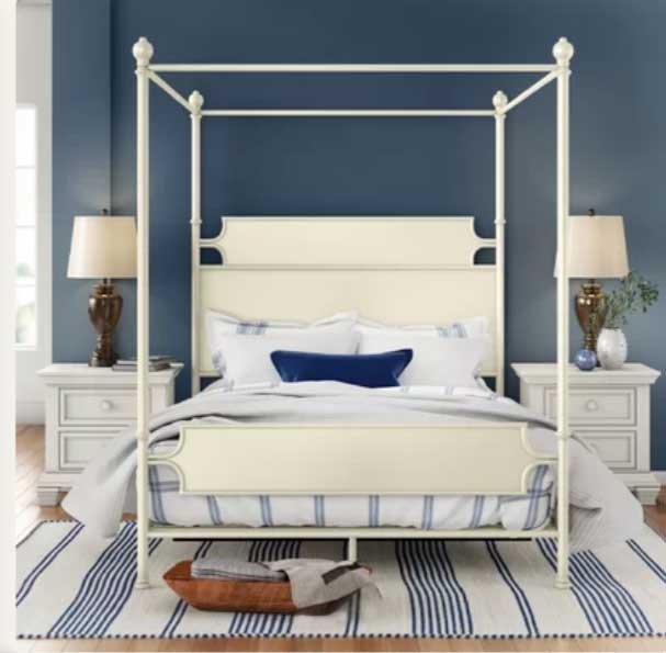 DARK BLUE GRAY BEDROOM WITH WHITE BED CANOPY