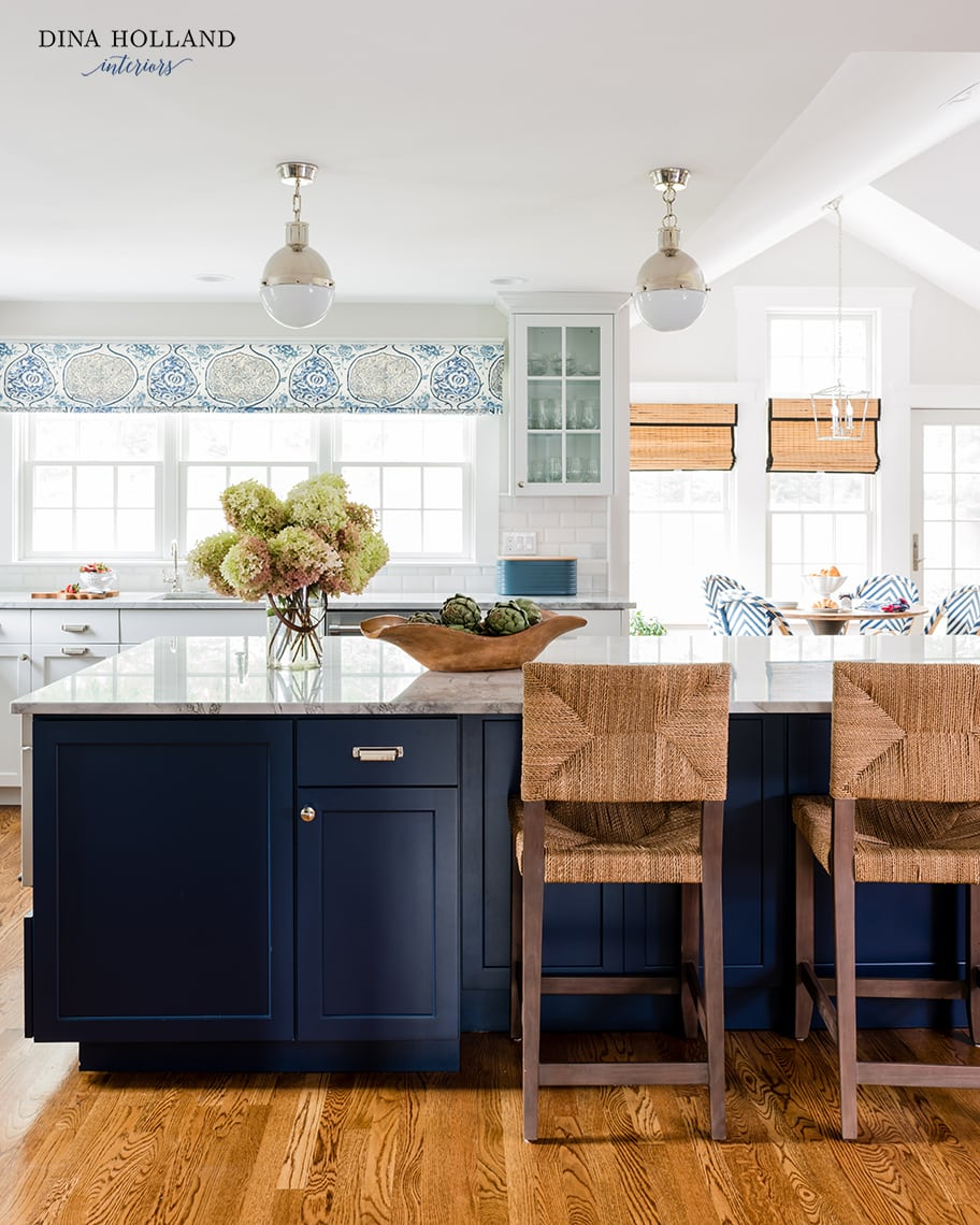 SW Naval Kitchen Island with natural woven counter stools- design by Dina Holland Interiors pics by Jessica DeLaney