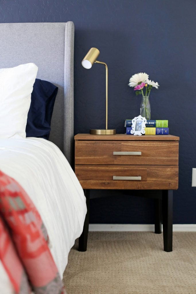 Sherwin-Williams Naval painted bedroom by Everyday Reading