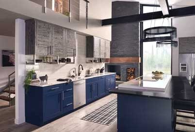 navy blue painted kitchen cabinets in modern kitchen