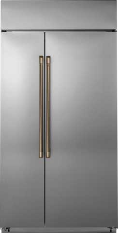 stainless steel refrigerator with gold hardware