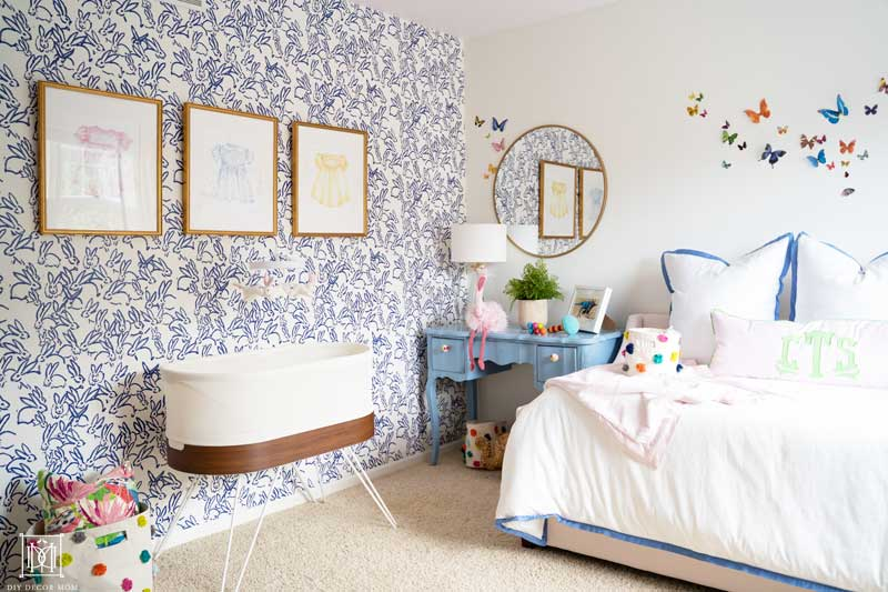 beautiful blue and white wallpaper in nursery baby girl room decor ideas