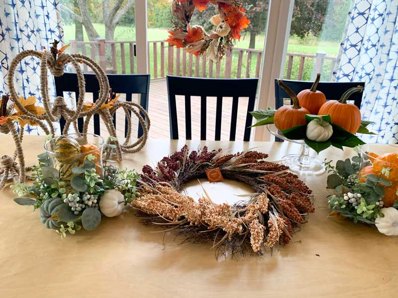 three sections on fall table decor