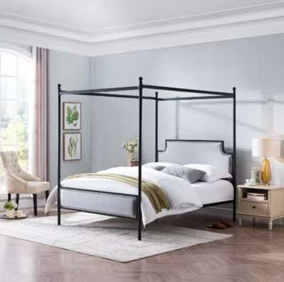 light bluish gray paint color in bedroom with four poster canopy bed